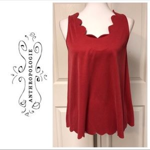 Anthropologie Eri and Ali Red Scalloped Tank XS